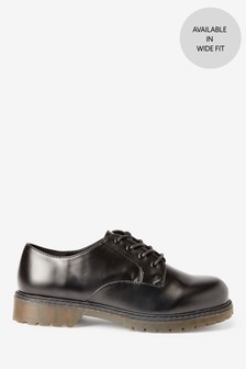 Black Chunky Sole Lace-Up Shoes