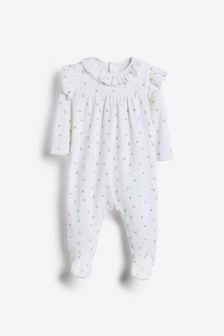 White Floral Velour Sleepsuit (0mths-3yrs)