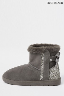 River Island Grey Quilted Faux Fur Lined Boots