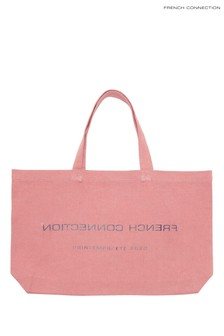 French Connection Pink Reverse Cotton Shopper Bag