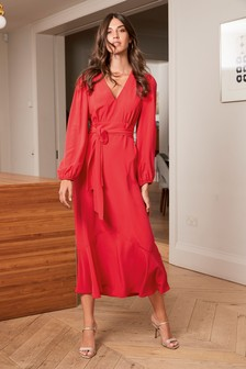 Red Plunge Maxi Dress