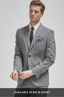 Grey Tailored Fit Stripe Suit: Jacket