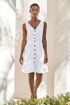 White Viscose/Linen Mixed Tiered Mini Dress