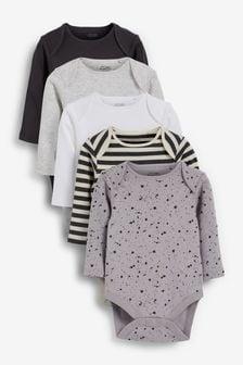 Monochrome 5 Pack Long Sleeve Bodysuits (0mths-3yrs)