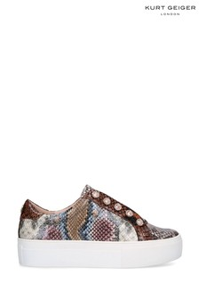 Kurt Geiger Ladies Liviah White Snake Print Trainers