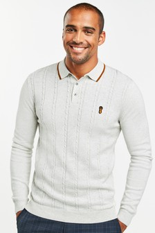 Light Grey Cable Stitch Knitted Polo