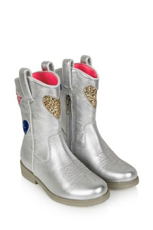 Girls Silver Leather & Glitter Western Boots