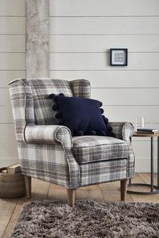 Brushed Check Perth Grey Sherlock II Petite Armchair With Light Legs