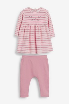 Pink Velour Character Dress and Leggings Set (0mths-2yrs)