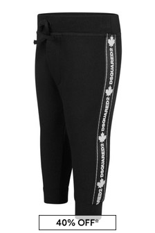 Baby Black Cotton Logo Trim Joggers