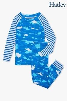 Hatley Shark Camo Organic Cotton Raglan Pyjama Set