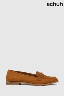 Schuh Tan Lottie Chain Detail Loafers
