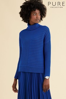 Pure Collection Blue Ribbed Relaxed Polo Neck Sweater