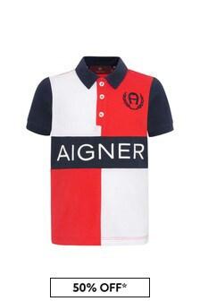 Aigner Boys Red Cotton Poloshirt