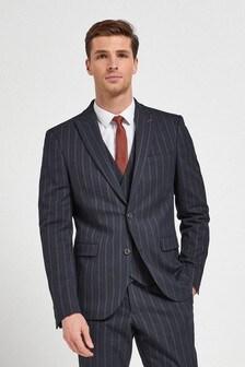 Navy Slim Fit Striped Suit: Jacket