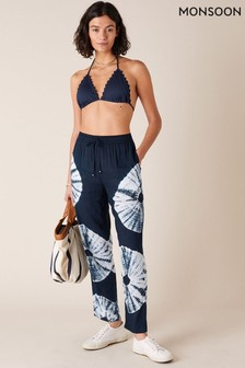 Monsoon Blue Tie-Dye Wide Leg Trousers