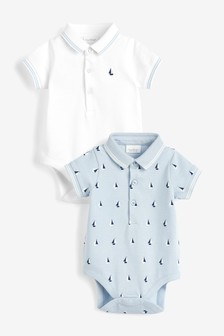 Blue/White 2 Pack Boat Polo Bodysuits (0mths-3yrs)