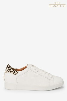White with Dalmatian Signature Leather Lace-Up Trainers