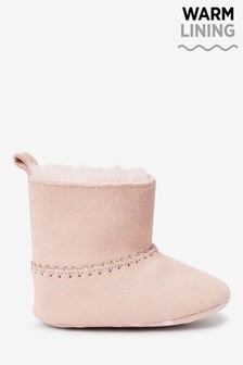 Pink Leather Pull-On Pram Boots (0-18mths)