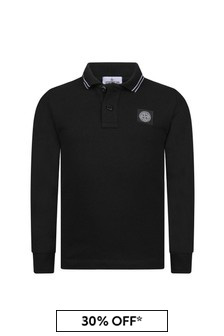 Boys Black Cotton Pique Long Sleeve Polo Top