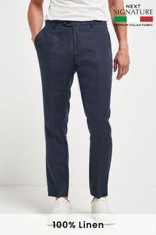Navy Slim Fit Signature Linen Suit: Trousers