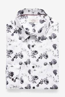 White/Black Slim Fit Floral Shirt