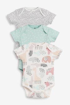 Multi Pastel 3 Pack GOTS Organic Character Spot Bodysuits (0mths-3yrs)