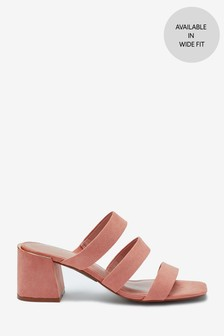 Blush Strappy Block Heel Mule Sandals