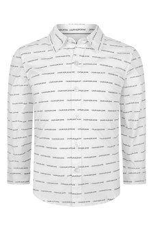 Calvin Klein Jeans Boys White Organic Cotton Logo Shirt