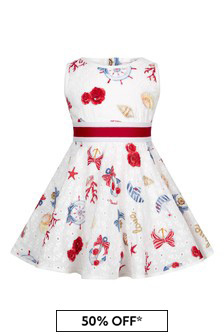 Monnalisa White Cotton Girls Dress