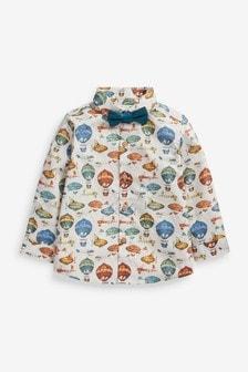 Neutral Hot Air Balloon Print Shirt And Bow Tie Set (3mths-7yrs)
