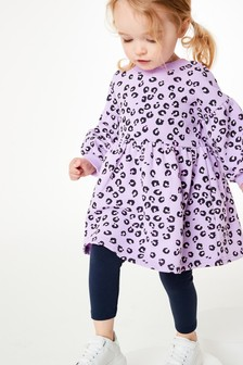 Lilac Animal Cosy Sweat Dress (3mths-7yrs)