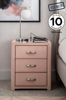 Blush Frankie 3 Drawer Bedside Table With USB Charger