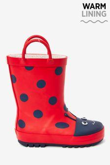 Red Ladybird Handle Wellies