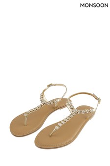 Monsoon Gold Embellished Toe Post Sandals