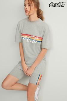 Grey Licence Coca-Cola Rainbow Longline Oversized T-Shirt