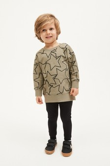 Khaki Star Jersey Oversized Crew And Leggings Set (3mths-7yrs)