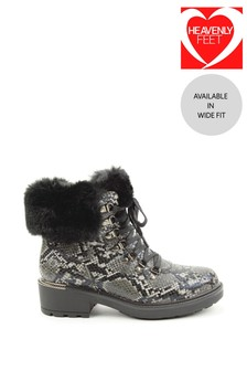 Heavenly Feet Grey Ladies Lace-Up Ankle Boots