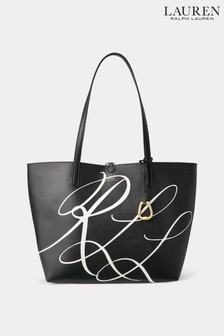 Lauren Ralph Lauren® Black Gold Reversible Script Logo Tote Bag
