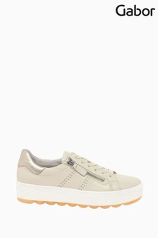 Gabor Quench Ivory Muschel Leather Trainers