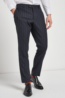 Navy Slim Fit Striped Suit: Trousers