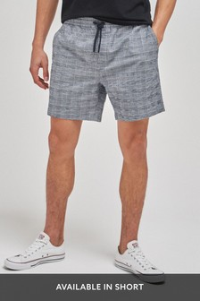 Grey Check Drawstring Waist Dock Shorts