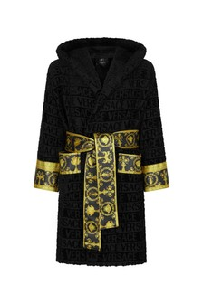 Kids Black Cotton Robe