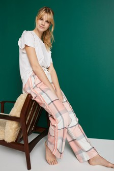 Pink Check Cotton Blend Pyjamas