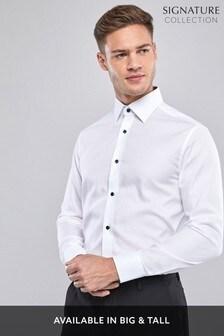 White Regular Fit Single Cuff Signature Textured Shirt
