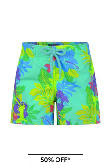 Boys Green Floral Print Swim Shorts