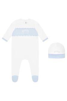 Boss Kidswear Baby Boys White Cotton Babygrow