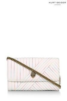 Kurt Geiger London Cream Leather Kensington Chain Wallet Bag