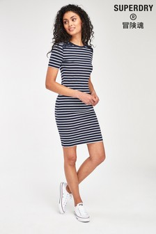 Superdry Navy Stripe Lace Dress