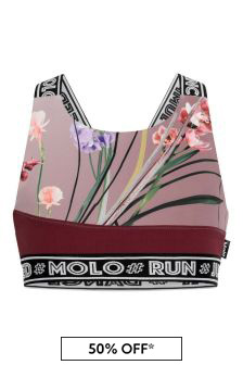 Girls Pink Floral Sports Top